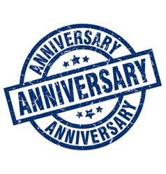 Anniversary blue round grunge stamp vector