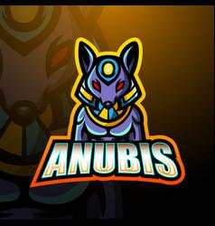 Anubis mascot esport logo design vector