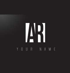 ar letter logo with black and white negative vector image