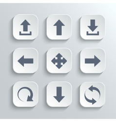 Arrows icon set - white app buttons vector image