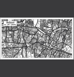 Bekasi indonesia city map in black and white vector