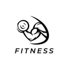 Bicep fitness logo icon vector