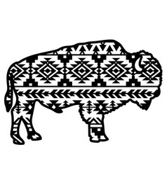bison aztec style tribal design ethnic ornaments vector image