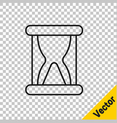 black line old hourglass with flowing sand icon vector image