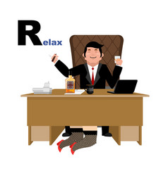 boss relaxation with whiskey and secretary letter vector image