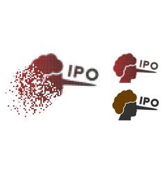 Broken pixel halftone ipo lier icon vector