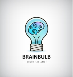 Bulb with brain inside logo vector