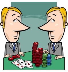 Businessmen playing poker cartoon vector