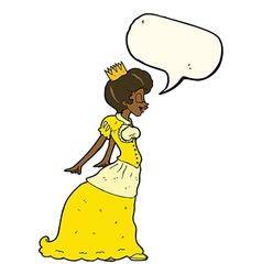 cartoon princess with speech bubble vector image