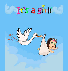 cartoon with stork carrying cute baby girl vector image