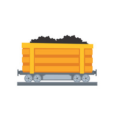cartoon yellow mine trolley on railway vector image