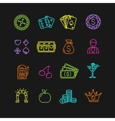 Casino Icon Color Set vector image