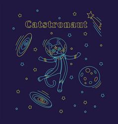 cat astronaut in space with type catstronaut vector image