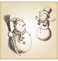 Christmas hand drawn - snowman vector image