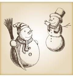Christmas hand drawn - snowman vector