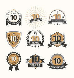 Collection of retro tenth anniversary logo set of vector