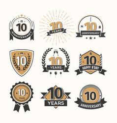 Collection of retro tenth anniversary logo set vector