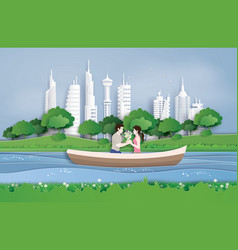 couples cruise in the pool vector image