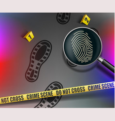 Crime scene magnifying glass with fingerprint vector