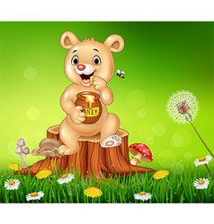Cute baby bear holding honey on tree stump vector