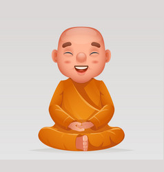 Cute buddhist sitting monk traditional asian vector