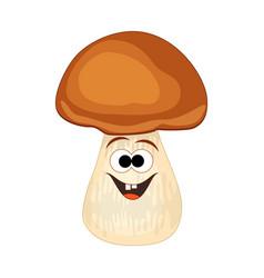 cute cartoon smiling mushroom vector image