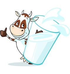 Cute cow behind glass of milk - isolated on white vector
