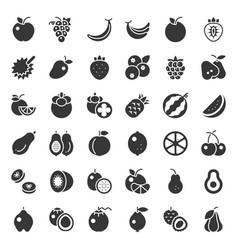 Cute fruit solid icon set such as orange kiwi vector