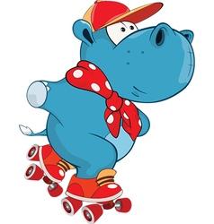 Cute hippo cartoon character vector