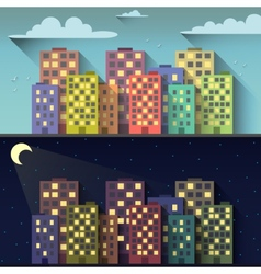 Day and night city vector