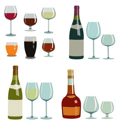 different alcoholic drinks and glasses vector image