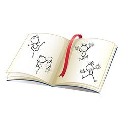 Doodle Kids Dancing Book vector
