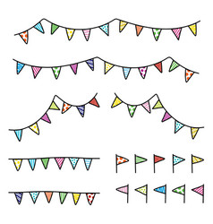 Drawing doodle colorful bunting flag trian vector