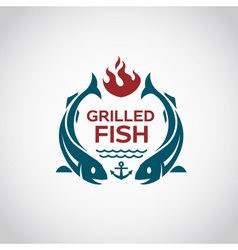 Fish barbecue icon vector