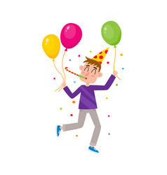 flat man in party hat whistling air balloon vector image