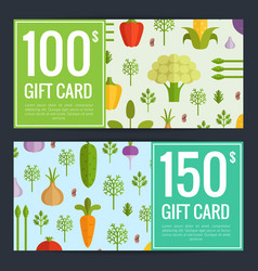 Flat vegetables vegan shopping voucher vector