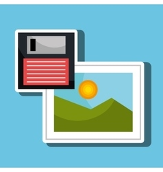 Floppy disk with picture isolated icon design vector