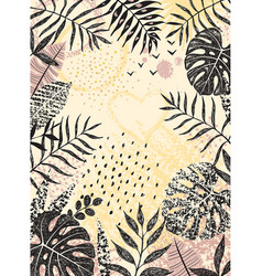 Floral background with monochrome tropical leaves vector