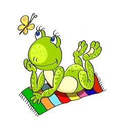 Frog on the beach towel vector