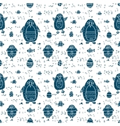 Funny seamless pattern with cartoon penguins vector