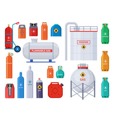 Gas storage oxygen oil cylinders tank and vector