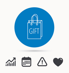gift shopping bag icon present handbag sign vector image