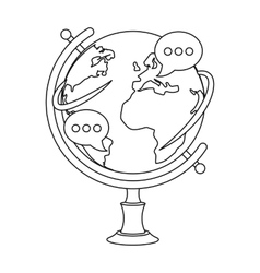 Globe of various languages icon in outline style vector image