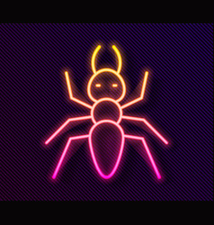 Glowing neon line ant icon isolated on black vector