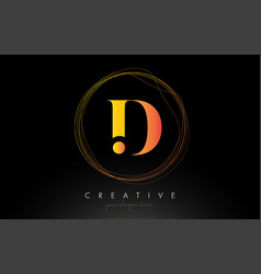 Gold artistic d letter logo design with creative vector