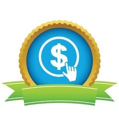 Gold dollar click logo vector