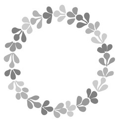 Grey laurel wreath frame on white background vector
