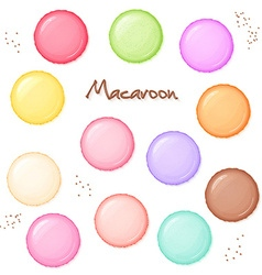 hand drawn set of coloured sweet macaroon - top vector image