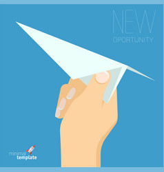 Hand with paper plane vector