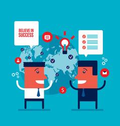 happy businessmen talking partnership teamwork vector image